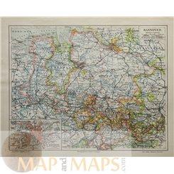 Hannover Oldenburg Old map North Germany Meyer 1905