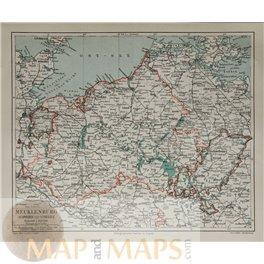 Mecklenburg Schwerun Strelitz Old map Germany Meyer 1905