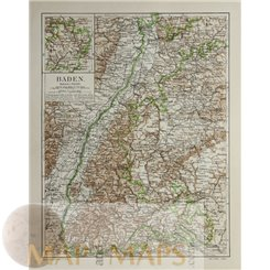Baden Germany Strasburg France Old map Meyer 1905