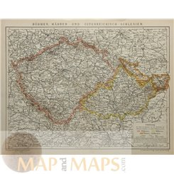 Czech Republic Bohemia Austrian Silesia Old map Meyer 1905