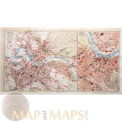 Germany Dresden street town map by Joseph Meyer 1905