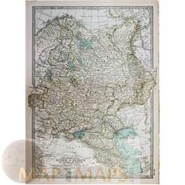 RUSSIA IN EUROPE POLAND FINLAND ANTIQUE MAP 1892