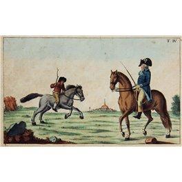 FARMER HORSE AND MILITARY HORSE ANTIQUE PRINT 1780