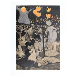Paris Parc de Saint-Cloud folk festival Adolf Münzer 1901 Lithograph