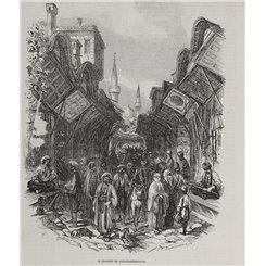 Instanbul Turley - A street in Constantinople Old print 1853