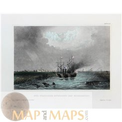 SOUTH-WESTERN MOUTH OF THE MISSISSIPPI, UNITED STATE ANTIQUE PRINT, MEYERS 1856