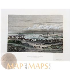 New York Antique Print of the Bay of New York Meyer 1850