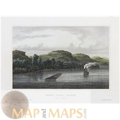 MISSISSIPPI RIVER, LAKE PEPIN, NORTH AMERICA, OLD PRINT BY MEYERS 1852
