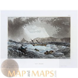 Antique print, Cape Horn, Hornos Island, Chile, by Meyers 1840.