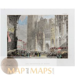 Roman Catholic Gothic cathedral in Rouen, France, Old antique print Meyers 1837.