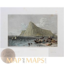 The rock of Gibraltar   antique Mapandmaps prints by Meyer 1850