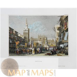 SEVILLE, VIEW OF THE CATHEDRAL SPAIN ANTIQUE PRINT MEYER 1838