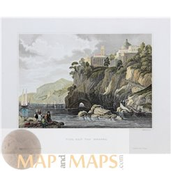 Italy Naples Bay Antique Old Print by Meyer 1850