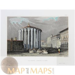 Rome prints Temple of Vesta old print Italy by Meyer 1850