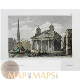 The Pantheon Rome Italy signed antique print 1838
