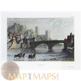 England old art prints, Durham view by Meyer 1840