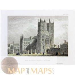 England old prints Westminster Abbey London by Meyer 1831
