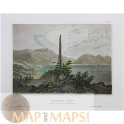 Norway old prints Frithiofs Bauta Sogne-Fjord Meyer1850
