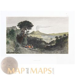 Italy old prints, Mount Vesuvius Naples by Meyer 1839
