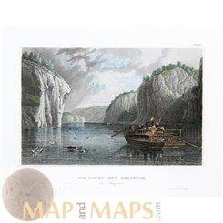 Germany prints, Danube river near Kelheim by Meyer 1850