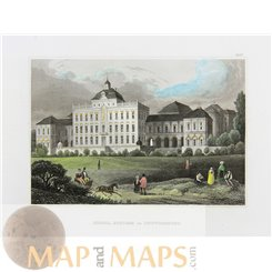 Palace Ludwigsburg, Baden-Württemberg, Germany, Old antique print Meyers 1837.