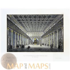 Antique print, The Throne Hall in the Royal Palace in Munich, Germany. Meyers 1850