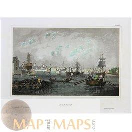 Bremen the old Harbor Germany Fine antique print 1840