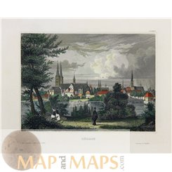 Germany old Town prints of Lubeck by Joseph Meyer 1850
