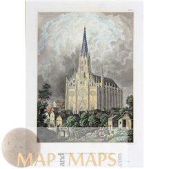 Germany old prints, Munich Mariahilfkirche by Meyers 1850