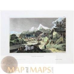 Germany old prints, Berchtesgaden Bavaria, by Meyer 1850