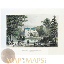 Thuringia old prints, Reinhardsbrunn Castle Germany Gotha Meyer 1852