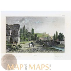 Old antique print, Sayn, Germany by Meyers 1840.