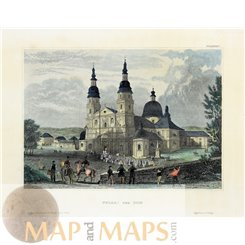 Germany old prints, Fulda Cathedral by Joseph Meyer 1860