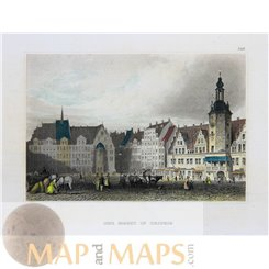 Old antique print, The market in Leipzig, Germany, Meyers 1840.