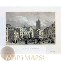 Germany old Town prints, Darmstadt market by Meyer1839