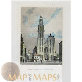 ANTWERP GOTHIC CATHEDRAL ANVERS ANTIQUE OLD PRINT 1850