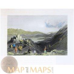 Jebel el Sheikh and Mount Hermon Old print Bartlett 1847