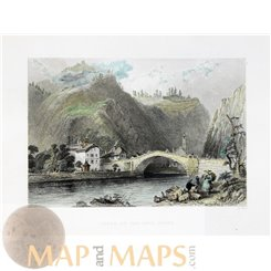 Cluse on the Arve river France antique old print hand colored 1850