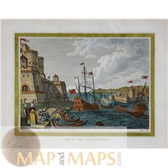 View of the Dardanelles Turkey old antique print 1839