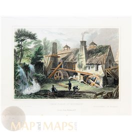 France old prints, Rouillon water Mill, J. Fussel 1830