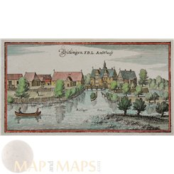 Germany Prints Buetlingen Tespe Niedersachsen Merian 1656