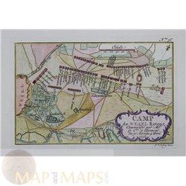 antique map CAMP DE WESEL RETOUR Germany Military plan v Schley/ Du Bois