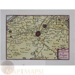 1688 FINE MAP BRUGES, BRUGGE, BELGIUM HOLLAND ANTIQUE MAP BEAULIEU