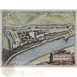 Charlemont, Belgium old antique map v. Deventer 1613