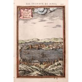 PORT BREST FRANS MARINA ANTIQUE OLD MAP MALLET 1684