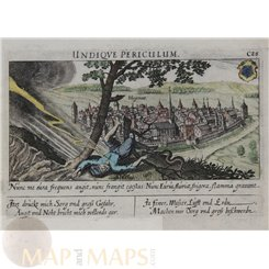 French Old Fortifications, Haguenau map by Meisner 1638