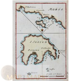 Islands Moree and Serigo Greece old chart by Roux