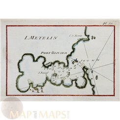Greece old nautical charts, Lesbos Port Hiero, Roux 1764