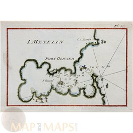 PORT OLIVER LESBOS GREECE old copper map Roux 1764