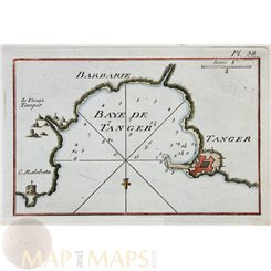 Tangier Bay Morocco antique chart by Roux 1764